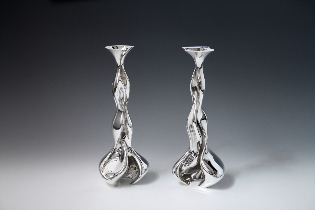 Two sterling silver objects Candle Sticks designed and executed by silversmith Wouter van Baalen, Amsterdam 2018